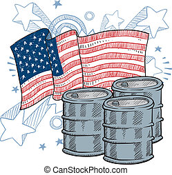 American oil dependence sketch - Doodle style oil barrel...