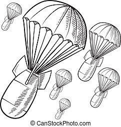 Gravity bombs sketch - Doodle style bombs descending on...