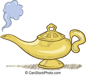 Genie lamp sketch - Doodle style genie aladdin's lamp vector...