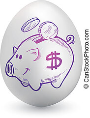 Piggy bank on easter egg - Doodle style piggy bank sketch on...