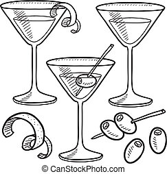Martini objects sketch - Doodle style martini drink set...