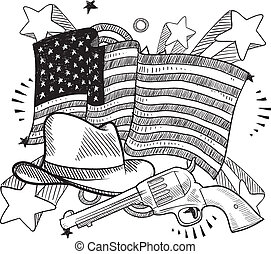 American wild west sketch - Doodle style American cowboy or...