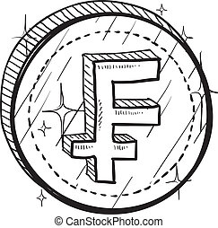 French Franc symbol sketch - Doodle style coin with currency...