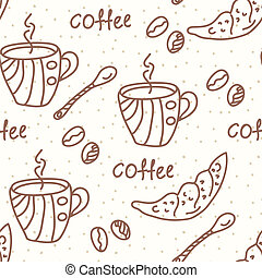 Seamless wallpaper with coffee and beans