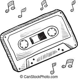 Cassette tape sketch - Doodle style cassette tape vector...