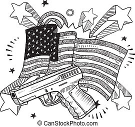 America loves guns sketch - Doodle style Second Amendment...