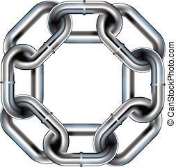 Seamless chain link border - Seamless metal chain link...