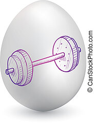 Barbell on easter egg - Doodle style barbell or...
