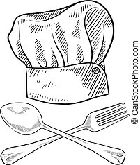 Chef hat sketch - Doodle style chef hat with fork and spoon...