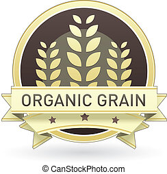 Organic grain food label, badge or seal with brown and tan...