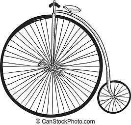 Antique bicycle sketch - Doodle style antique bicycle with...