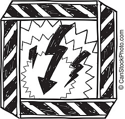 Electrical hazard warning sketch - Doodle style electrical...
