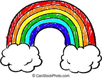Rainbow sketch - Doodle style rainbow sketch in vector...