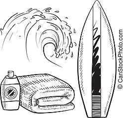 Surfing and beach gear sketch - Doodle style surfing gear...