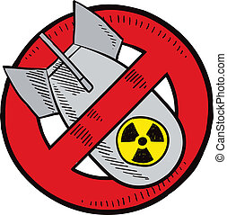 Anti-nuclear weapons sketch - Doodle style anti-nuclear...
