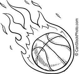 Flaming basketball sketch - Doodle style flaming basketball...
