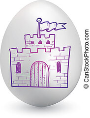 Castle Easter egg sketch - Doodle style castle, security, or...
