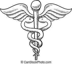 Vector Illustration of Caduceus in heart medical symbol .vector ...