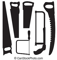 Saws vector silhouettes set - Saws in vector format Tool set...