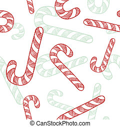 Seamless candy cane background - Doodle style seamless candy...