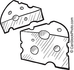 Cheese wedge sketch - Doodle style fresh cheese illustration...