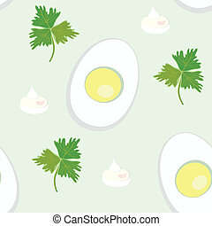 Seamless pattern with egg and parsnip, mayonnaise