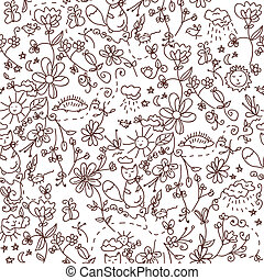 Nature seamless doodle funny pattern