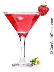 strawberry cocktail with berry in glass isolated on white...