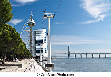 Quay of Tejo river with Vasco da Gama tower, Lisbon - Quay...