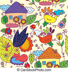 Seamless pattern with houses, flowers, birds in etnic style