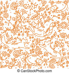 Floral seamless wallpaper with cats cartoon