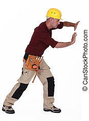 tradesman, Empurrar, Invisível, parede