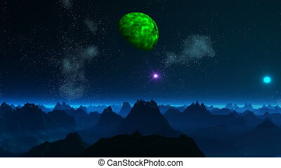 Green planet and UFO in the sky of - High sharp mountains...