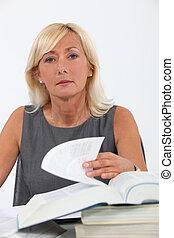 Female lawyer studying
