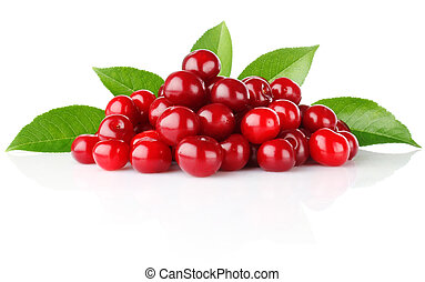 ripe cherry with green leaves isolated on white background