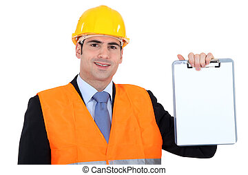 An architect presenting a blank clipboard.