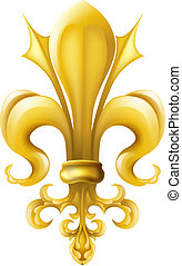Fleur-de-lis graphic - Drawing of fleur-de-lis design motif,...