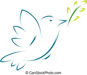 peace dove with flower - abstract illustration of peace dove...