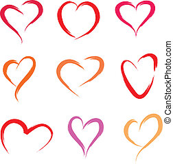 red hearts - set of scribble hearts in brush drawing style