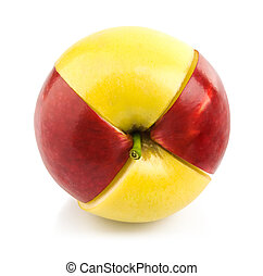 red and yellow apple cuted by part isolated white background