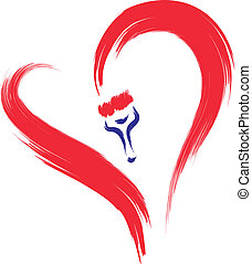 red heart painting - brush drawing heart sketch