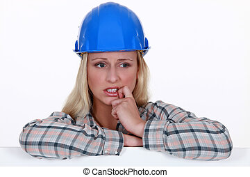 Anxious female architect