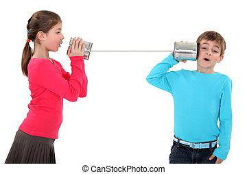 estaño, lata, teléfono
