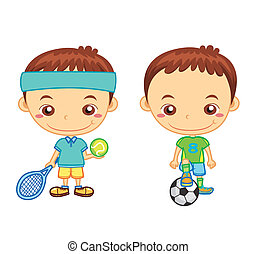 kids and sports02 - A football player and a tennis player...