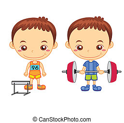 kids and sports05 - A hurdler runner and a weight lifter...