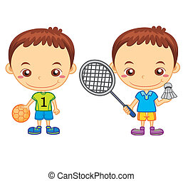 kids and sports07 - A handball player and a badminton player...