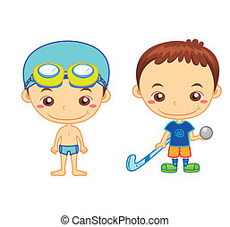 kids and sports09 - A swimmer and a hockey player isolated...