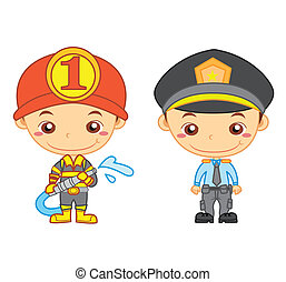 kids and jobs01 - A policeman and a firefighter isolated on...