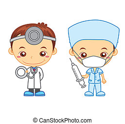 kids and jobs02 - A doctor and a nurse isolated on white...