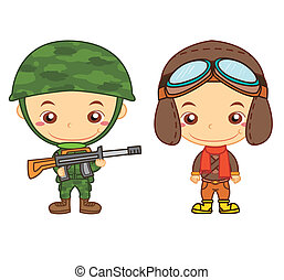 kids and jobs04 - A army soldier and a airman isolated on...